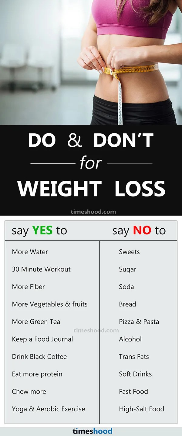 Find some Do and Don't Weight Loss tips for fast result. 10 Tips to help you lose weight fast.