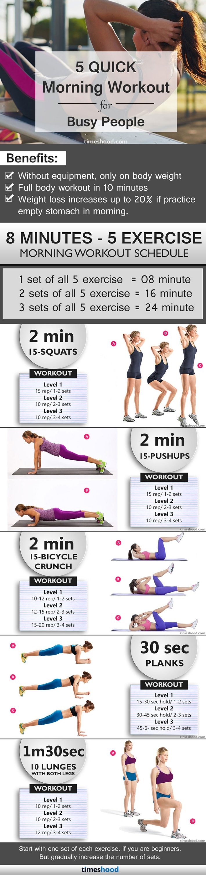5 quick morning exercise in 8 minutes, especially design for busy people, Quick morning workout for women, Fast weight loss workout for beginners at home.
