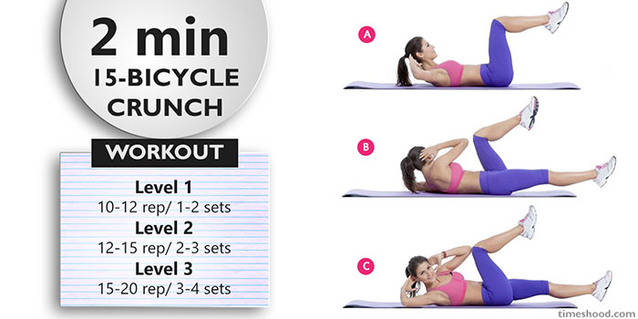 BICYCLE CRUNCH - Quick Morning workout for women