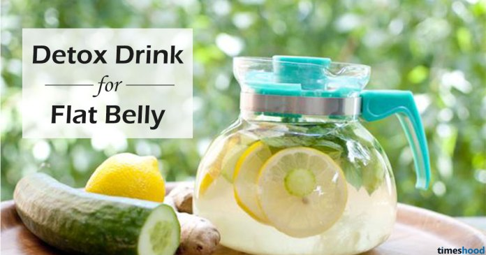 Detox Drink for Flat Belly: 5 Kitchen Ingredients: cucumber, lemon, mint, and ginger detox water for flat belly.