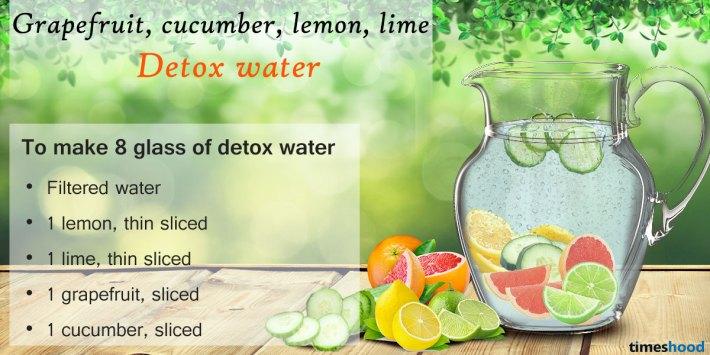 Grapefruit, cucumber, lemon and lime slim detox water. 5 DIY Best Detox Water Drink for weight loss.