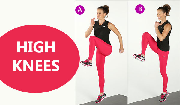High knees for fat burn every evening. 10 weight loss workout.