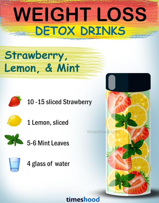 Conseils rapides pour perdre du poids. Eau détoxifiante de fraises, citron et menthe pour maigrir. boissons saines pour perdre du poids. Boissons détoxifiantes pour brûler les graisses.