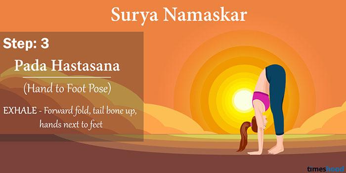 Pada Hastasana (Hand to foot pose) - Surya Namaskar yoga steps by step guide