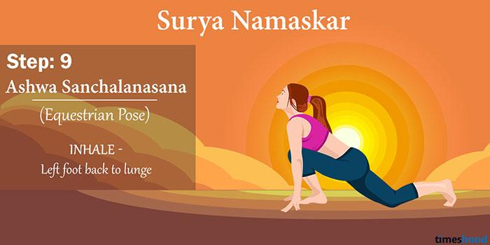 Ashwa Sanchalanasana (The Equestrian Pose) - Surya Namaskar Step 9