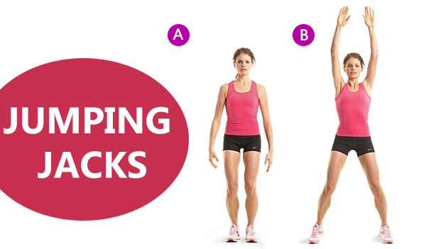 jumping jacks exercise. 10 weight loss evening workout. Fat Burning Workout