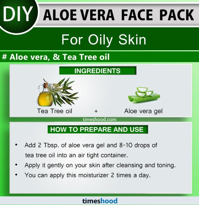Aloe Vera Face Pack for Oily Skin. Tea Tree oil and Aloe vera gel face mask diy remedy. Check out 15 more Aloe vera for skin diy on Timeshood.com