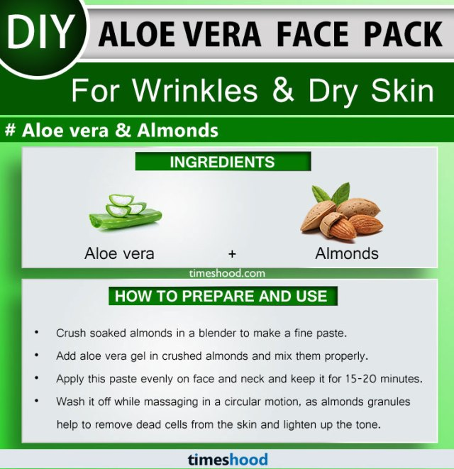 Aloe Vera Face Pack for Wrinkles and Dry Skin. Almonds and Aloe vera face mask diy. 15 More Aloe vera uses for skin remedies on Timeshood.com