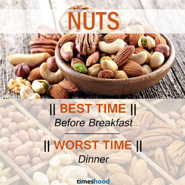 When to eat Nuts | Best and Worst time to eat nuts and some common fruits | Right time to eat fruits | Best time to Eat Fruits in a day | via Timeshood.com