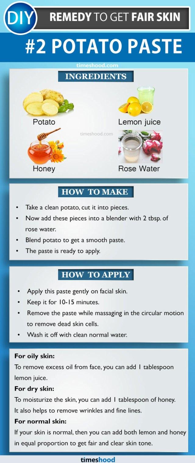 Potato paste mask for fair and bright skin tone.  5 Ways to use potato for fair skin | Get fair skin | Natural Remedy to get fair skin | Tips to get fair skin | Timeshood.com