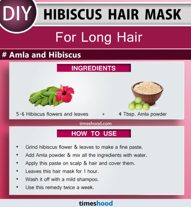 Hibiscus Hair Mask for Long Hair. Amla and Hibiscus Hair Mask, strengthens the hair follicle and makes them long and strong. Amla for hair growth. How to use hibiscus for hair. Tips for long hair remedy at home. DIY Remedy for long thick and shiny hair. | Timeshood.com