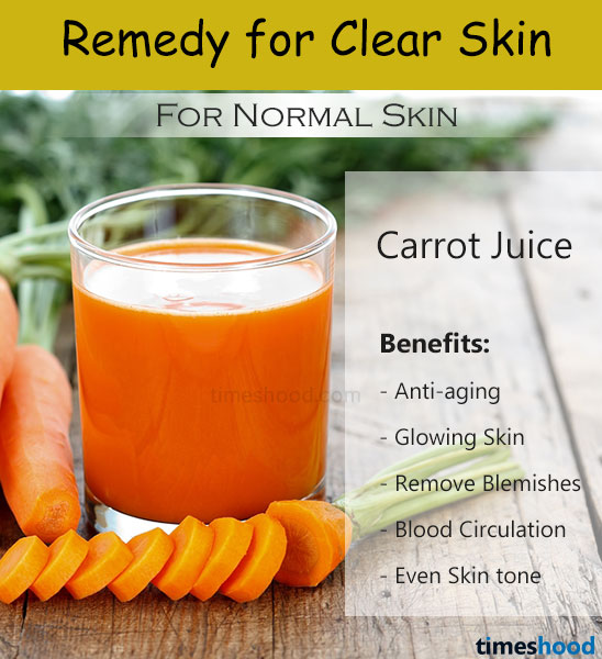 Carrots juice for acne free clear skin. Home remedies for clear skin. Carrot juice for skin. Beauty tips for clear skin.