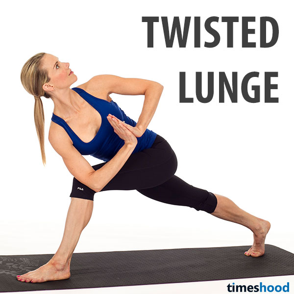 Twisting high lunge yoga pose for weight loss. Twisting lunge pose strengthen lower body and burn fat around stomach.