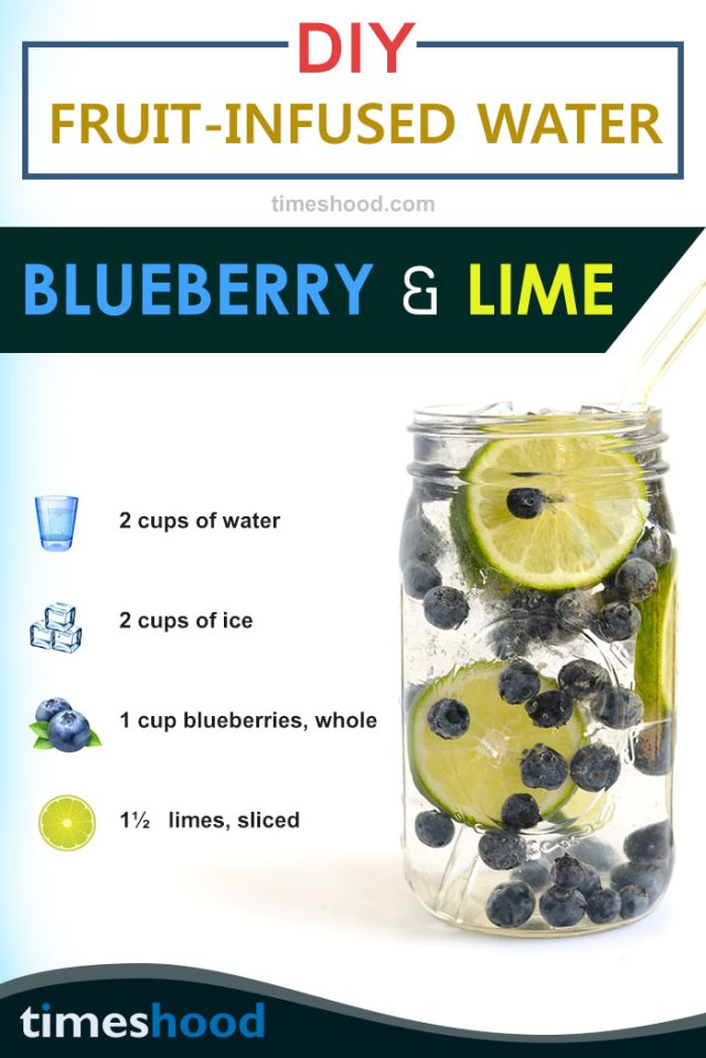Blueberry lime infused water for boosting metabolism. Try this tasty fruits infused water recipes for glowing skin and weight loss.