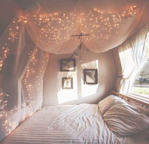 fairy light home ideas on Christmas. Bedroom decoration ideas. Decor your home with fairy lights.