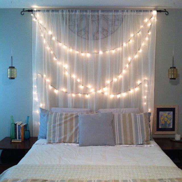 Back curtain bedroom string lights. bedroom decor ideas by curtain. fairy decoration ideas. Christmas lightening decoration ideas.