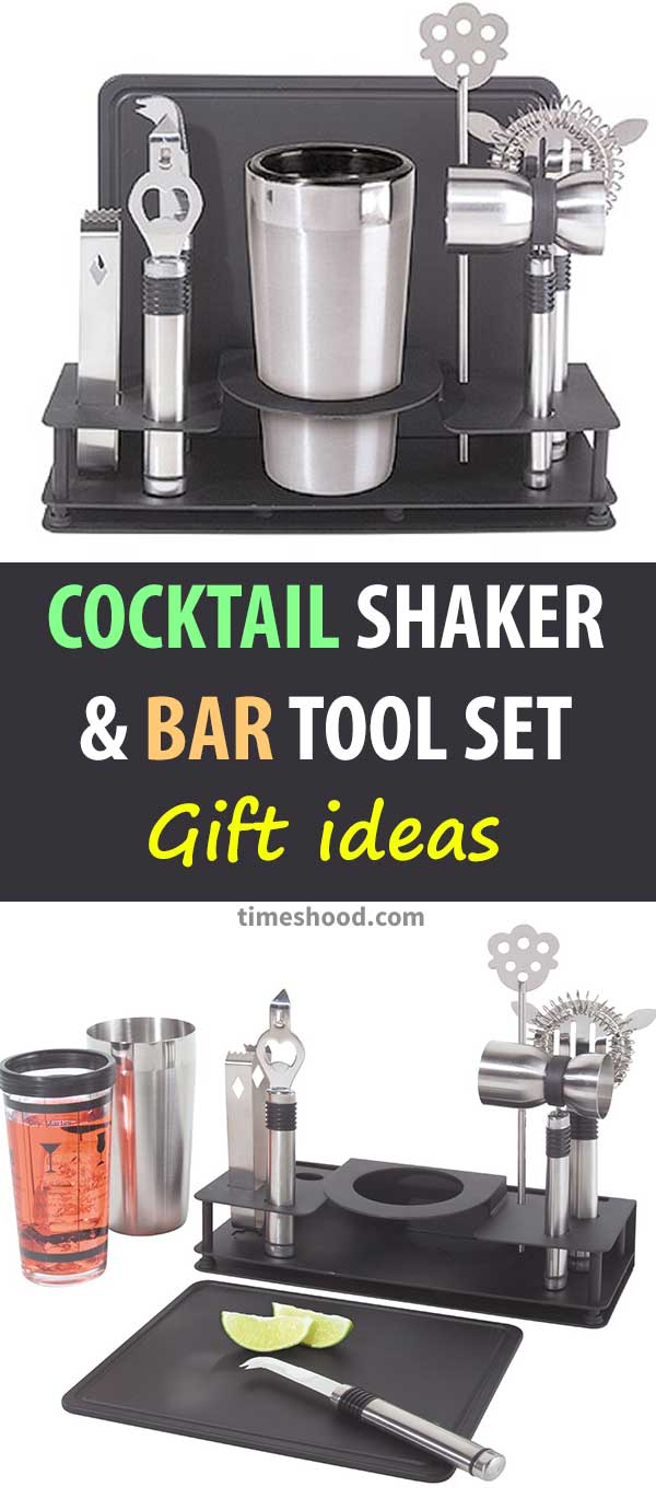Cocktail Shaker and Bar Tool Set. Cool Gift ideas for parties celebration. Christmas, Thanksgiving special day gift items. Gift ideas for men.