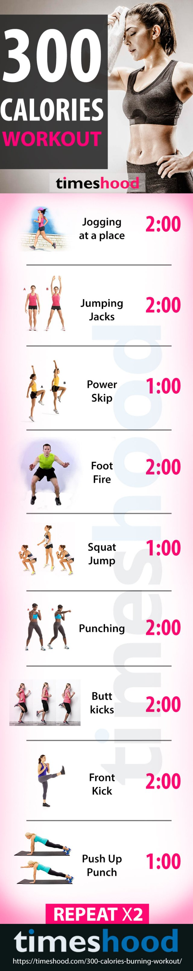 30 Minute, 300 Calories Burning Workout At Home - Timeshood