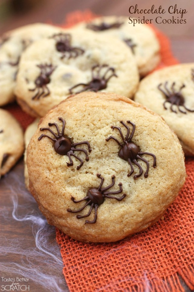 Halloween chocolate chip spider cookies. Find 22 more easy and delicious Halloween dessert ideas for party. Halloween treat ideas for kids. Halloween dessert recipes for adult party. Best Halloween cookies treat ideas for kids and school. Cute Halloween dessert recipes for party. Easy to make Halloween spooky foods ideas for adults. Halloween monster eyes treat ideas for kids. Easy Halloween food ideas for party. Easy Halloween treats for kids. Halloween tricks and treats for school parties. Halloween homemade dessert idea.