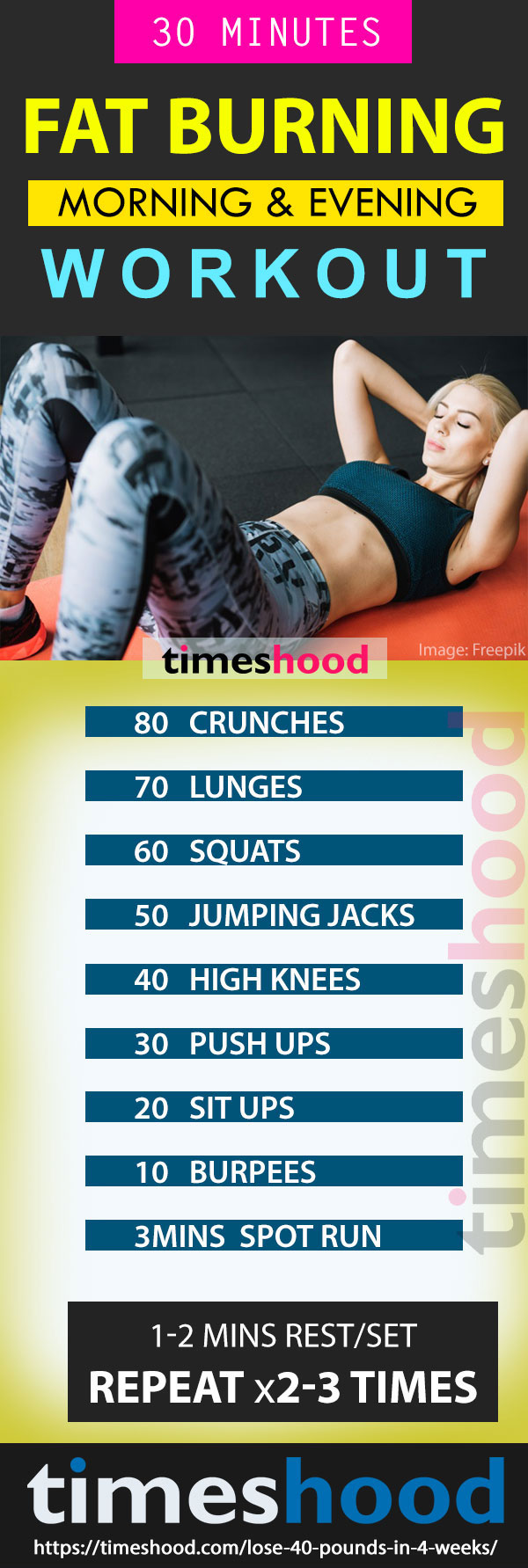 Fat Burning Workout: Morning Workout Plan for Weight loss. Best fat burning exercise for fast weight loss. HIIT Workout challenge. Lose up to 40 pounds in 4 weeks complete 24 hours weight loss guide to follow. Fastest way to lose weight in 4 weeks. 4 Week flat belly challenge to lose up to 40 pounds visit timeshood.com