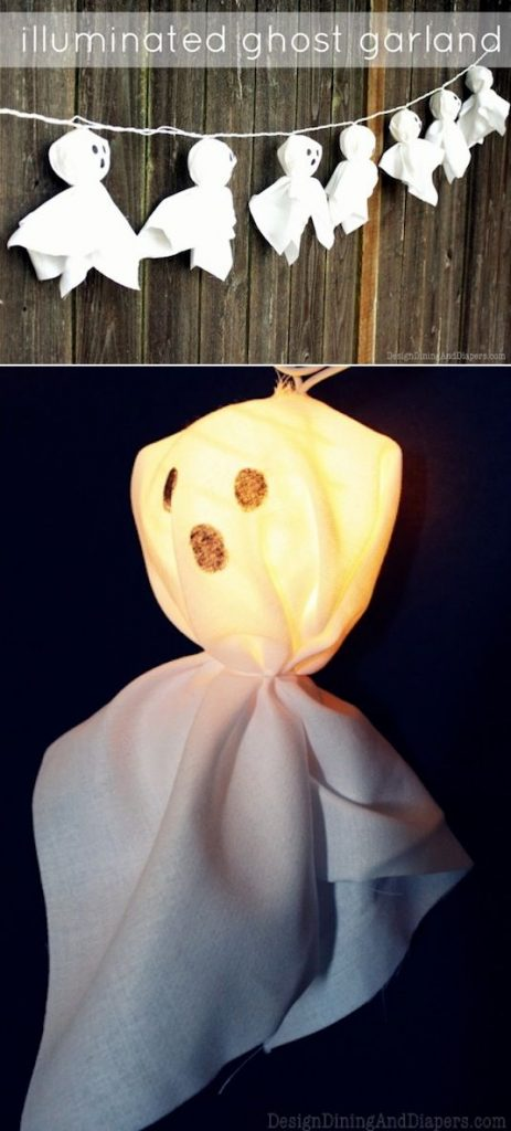 Illuminated ghost garland for Halloween party. 12 best Halloween spooky party decoration ideas. DIY Halloween decoration ideas for Halloween. Creative ghost light garland to decorate outdoor. Outdoor Halloween decorating ideas. Indoor Halloween decorating ideas. Halloween crafts for kids and toddlers.