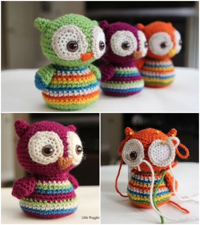 Baby owl free crochet pattern. Free easy amigurumi crochet pattern. Crochet cute animal pattern.