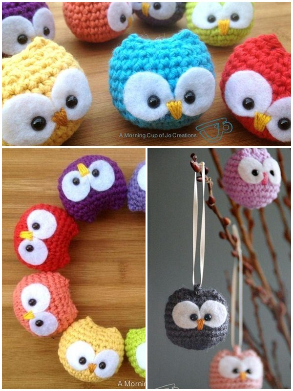 Baby owl ornaments crochet pattern. Best free crochet pattern design for beginners to start. Crochet amigurumi pattern. Baby animal crochet.