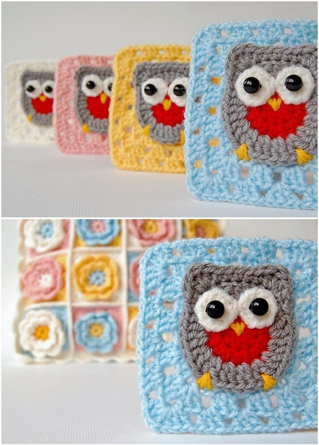 Crochet owl granny square. Best crochet free pattern for beginners. Owl crochet pattern to design at home.