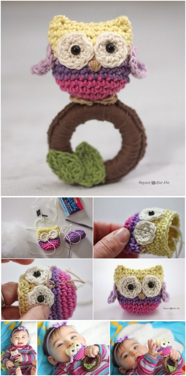 Crochet owl ring baby toy. Creative crochet design for baby to play. Best free crochet pattern.