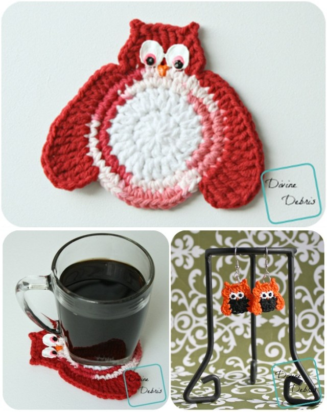 Olga owl crochet Free pattern for appliance and earrings. Easy owl crochet patterns for kitchen.