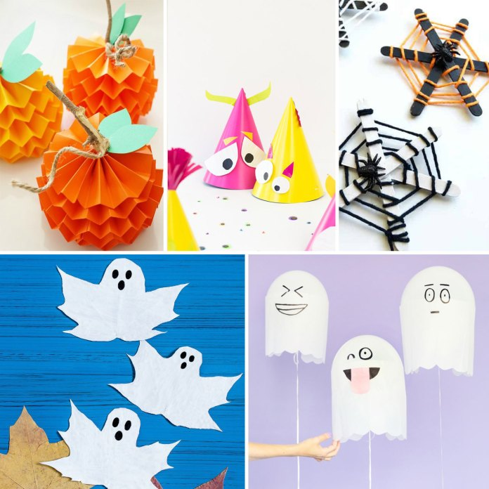 Easy Halloween crafts ideas for kids to engage with. Fun loving spooky crafts for kids to make. Find 15 more Halloween party crafts ideas.