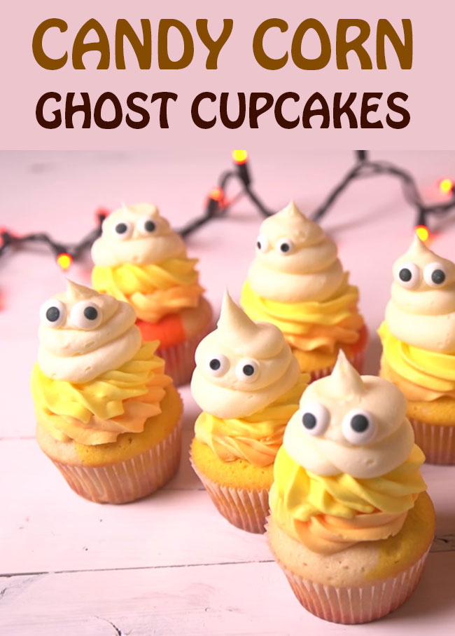 Candy Corn Ghost Cupcakes Recipes for this Halloween. Amazing Halloween Cupcake Recipes Ideas.