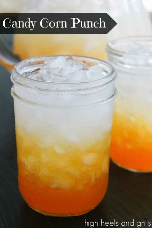 Candy Corn Punch. Funny Halloween Drinks ideas for Kids. Happy Halloween!