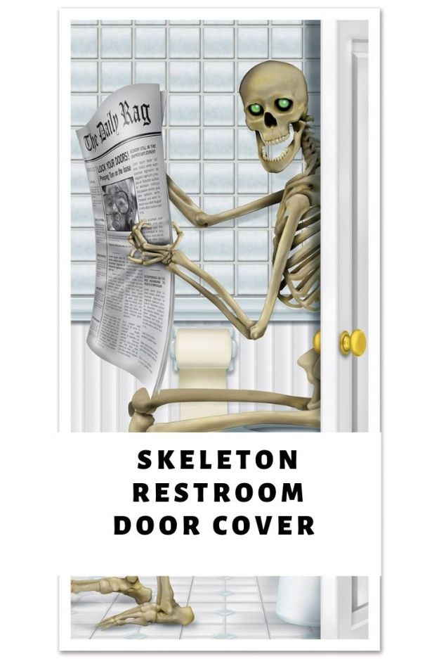 Halloween funny skeleton restroom door cover for haunted house party. These old bones still have a bit of life in them to haunt you on Halloween night. Find 17 more spooky decorations ideas from Amazon.