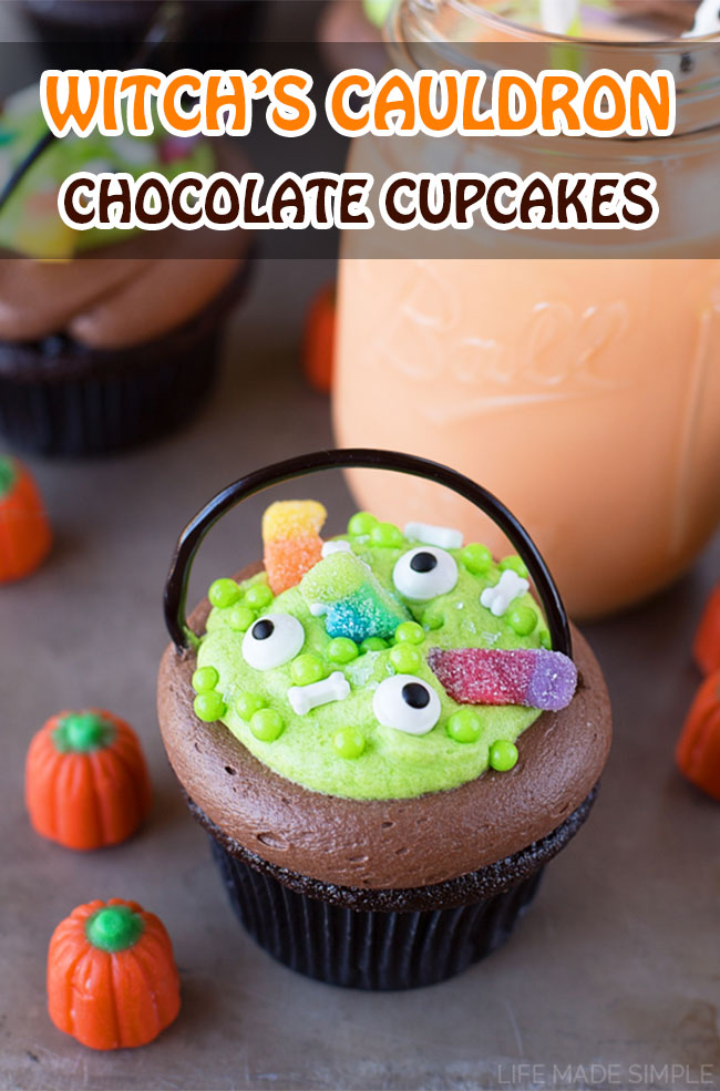 "Witch's Cauldron Chocolate Cupcakes with Orange ""Scream"" Filling. Easy, fun, and spooky Halloween cupcakes recipes."