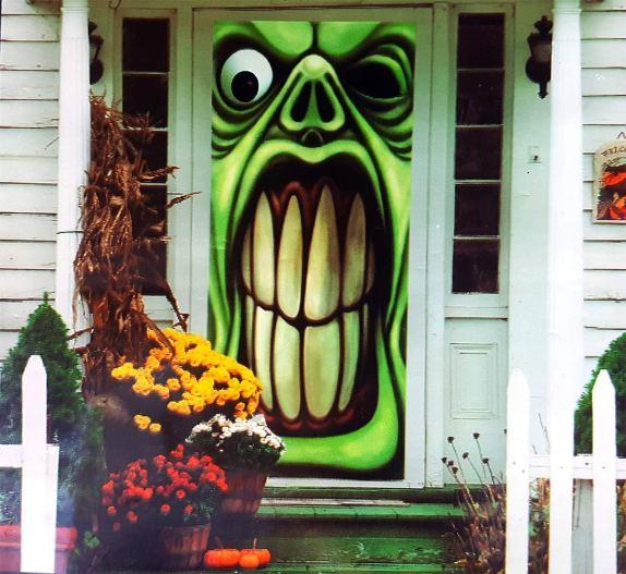 Halloween haunted house Green Goblin door cover decorations. Get 10 more exciting Halloween front door decorations ideas on Amazon.