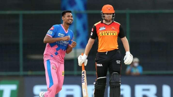 Mustafizur Rahman of Rajasthan Royals celebrates the wicket