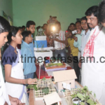 Assam Forest and R&D Minister Rockybul Hussain interacting with the participants at the Science Exhibition organised by Rastriya Madhyamik Siksha Abhiyan (RMSA) in colloboration with district administration, held at Nagaon govt Boys Hr. Sec School premises in Nagaon, Assam on Saturday, April 28, 2012