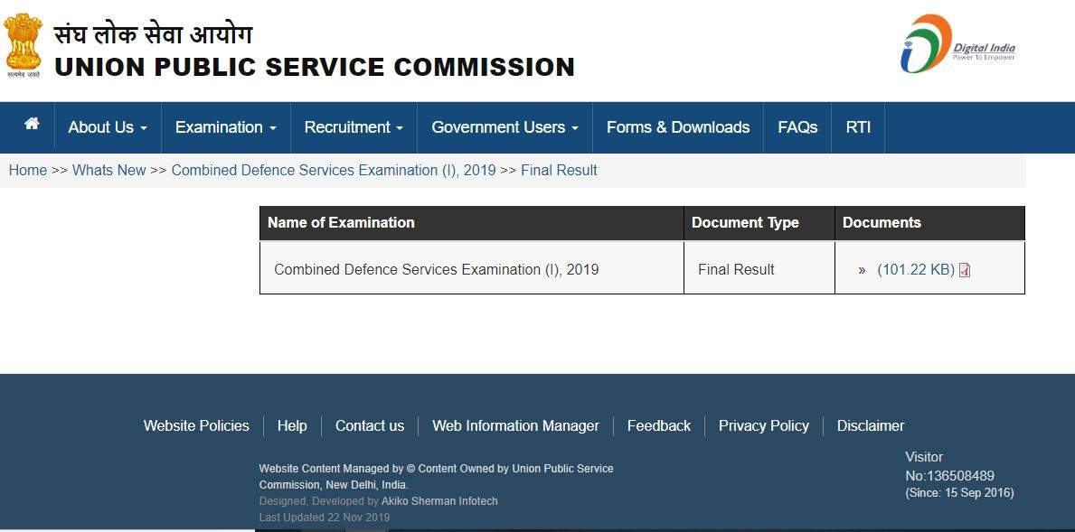 UPSC CDS (I) final results 2019 released at upsc.gov.in ...