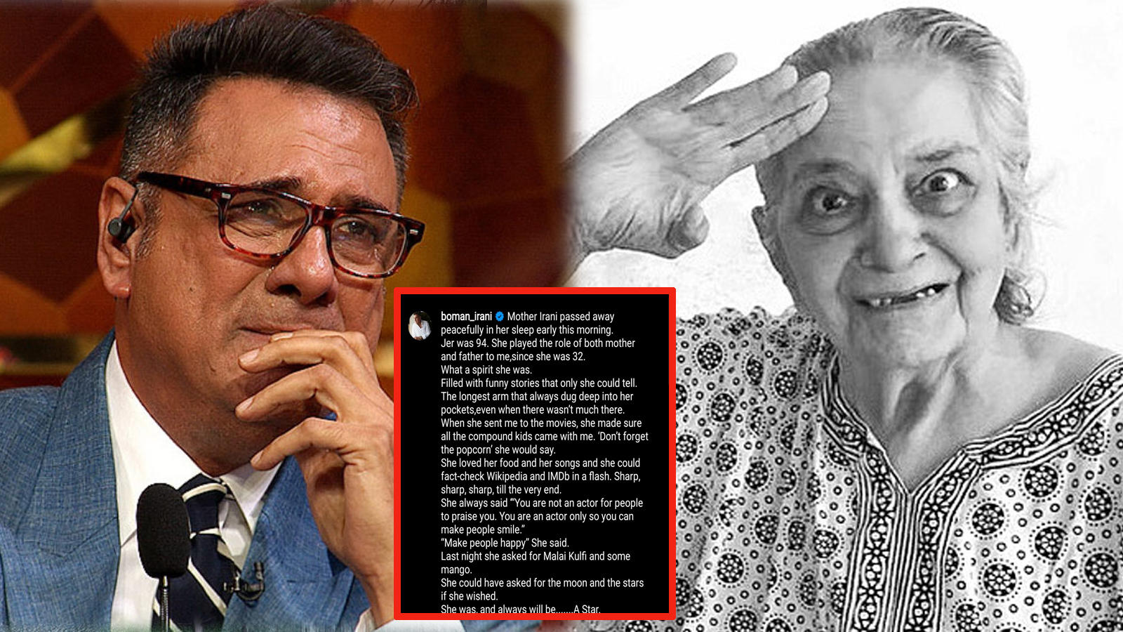 Boman Irani's mother Jerbanoo Irani passes away at 94, actor writes a heartfelt note!   Hindi Movie News – Bollywood – Times of India