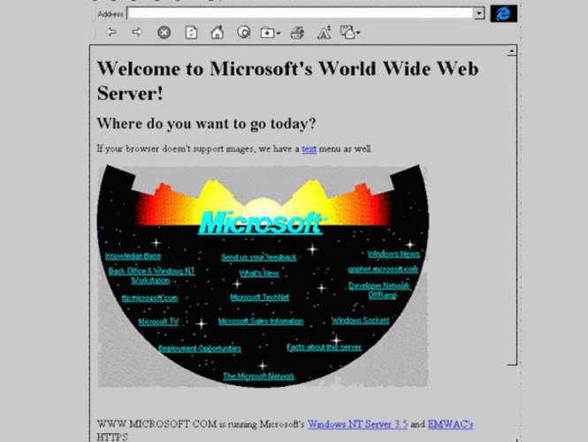 Microsoft's first web page