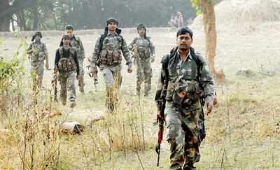 Security forces patrol the rebel-hit areas of Burha-Pahar on Friday