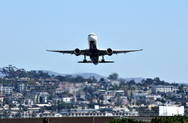 Airliner taking off from San Diego