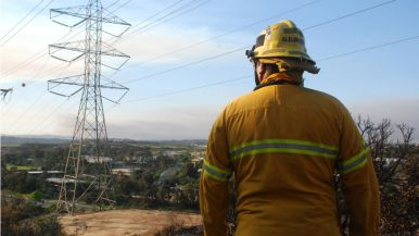 Firefighter watches crews putting out hot spots in Carlsbad as smoke could be seen from Camp Pendleton.