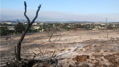 Smoke from Cocos Fire in San Marcos could be seen from burnt area of Carlsbad.