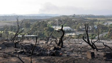 Charred remains of vegetation can be seen with smoke from San Marcos fire on the horizon.