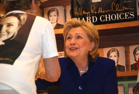 Hillary Clinton chats with political activist Rosemary Straley, coordinator of Hillary Clinton Support Network.