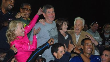 Mary Decker Slaney joined other fans having fun with Jim Ryun.
