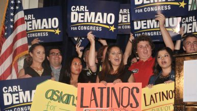 DeMaio supporters at Lincoln Club reception at U.S. Grant Hotel. Photo by Chris Stone
