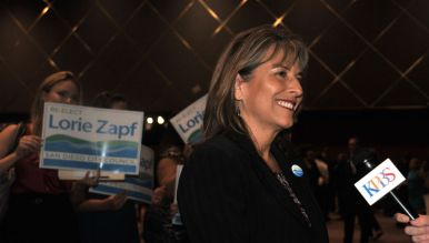 Councilwoman Lorie Zapf savored her big lead in District 2. Photo by Chris Stone